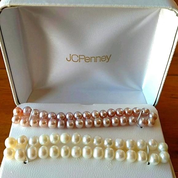 Pearl Bracelets, Fresh Water Pink & White Elastic